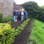Staff from Barclay's Bank planting a hedge